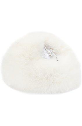 Детского шапка-ушанка с меховой отделкой IL TRENINO белого цвета, арт. 18 7124/E0 | Фото 2