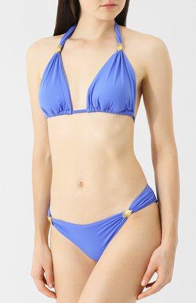 Однотонные плавки-бикини с драпировкой Lazul синий | Фото №1