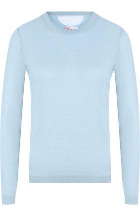 Однотонный пуловер из смеси кашемира и шелка