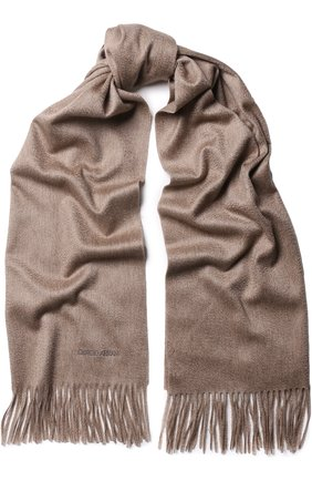 Мужской кашемировый шарф с бахромой GIORGIO ARMANI бежевого цвета, арт. 745208/8A130 | Фото 1