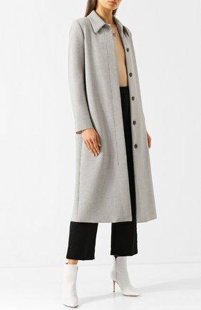 Пальто прямого кроя в клетку Mm6 черно-белого цвета   Фото №1