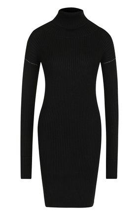 Приталенное мини-платье с воротником-стойкой Mm6 черное   Фото №1