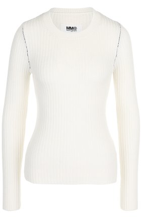 Однотонный пуловер с круглым вырезом Mm6 белый   Фото №1