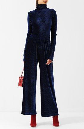 Однотонные брюки свободного кроя с эластичным поясом Mm6 темно-синие   Фото №1