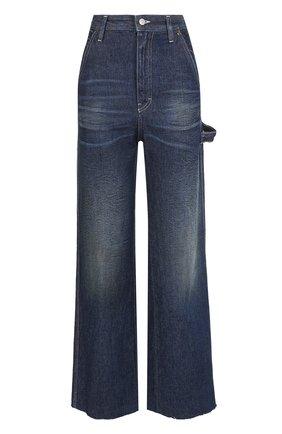 Расклешенные джинсы с потертостями Mm6 синие   Фото №1
