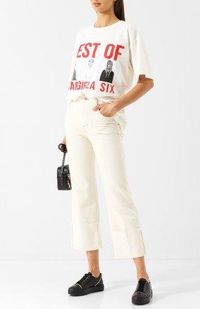 Хлопковая футболка с круглым вырезом и принтом Mm6 белая   Фото №1