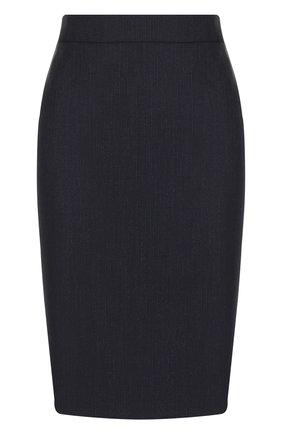 Шерстяная юбка-карандаш BOSS темно-синяя | Фото №1