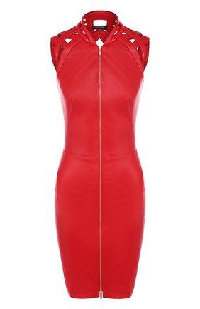 Женское кожаное мини-платье на молнии JITROIS красного цвета, арт. DRESS INTRIGUE EMBR0IDED | Фото 1