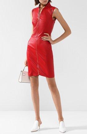 Женское кожаное мини-платье на молнии JITROIS красного цвета, арт. DRESS INTRIGUE EMBR0IDED | Фото 2