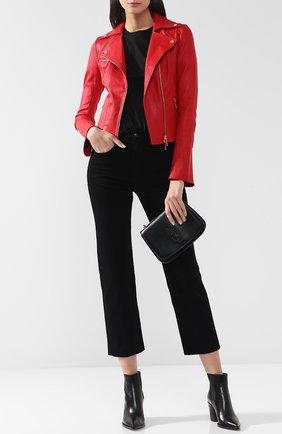 Женская приталенная кожаная куртка с косой молнией JITROIS красного цвета, арт. JACKET RIDER 4 FEMME AGNEAU STRETCH | Фото 2