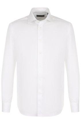 Мужская хлопковая сорочка с воротником кент CORNELIANI белого цвета, арт. 82P100-8811204/00 | Фото 1