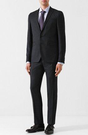Шерстяной костюм с пиджаком на двух пуговицах Sand черный | Фото №1