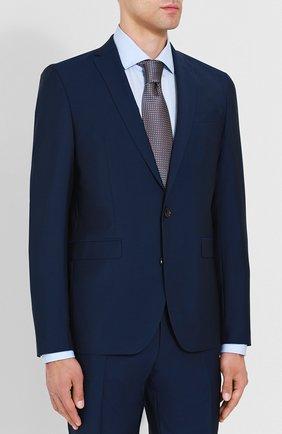 Костюм с пиджаком на двух пуговицах из смеси шерсти и мохера Sand синий | Фото №1