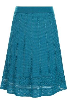 Однотонная мини-юбка фактурной вязки M Missoni бирюзовая | Фото №1