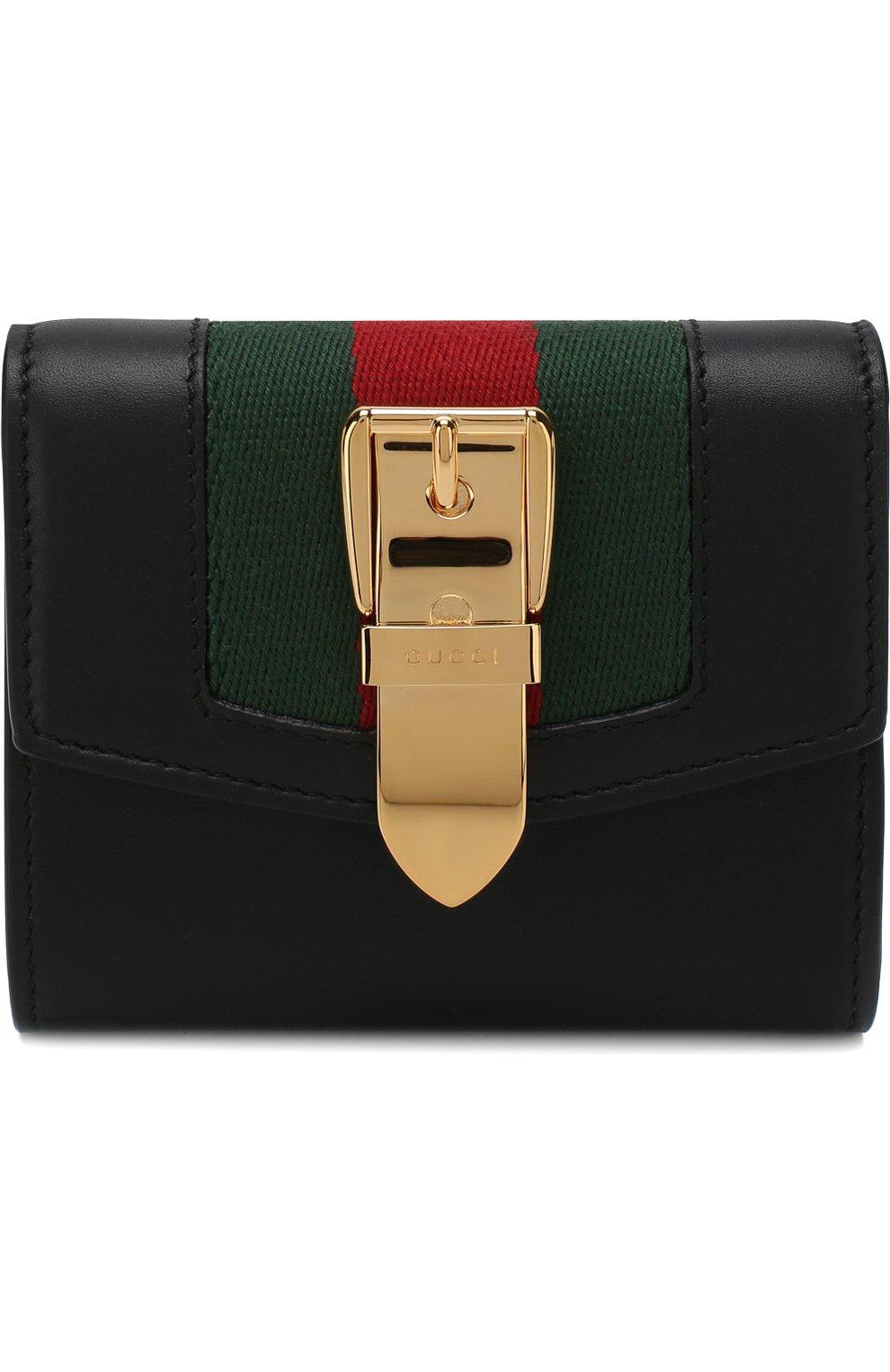 Кожаный кошелек Sylvie с клапаном Gucci черного цвета | Фото №1