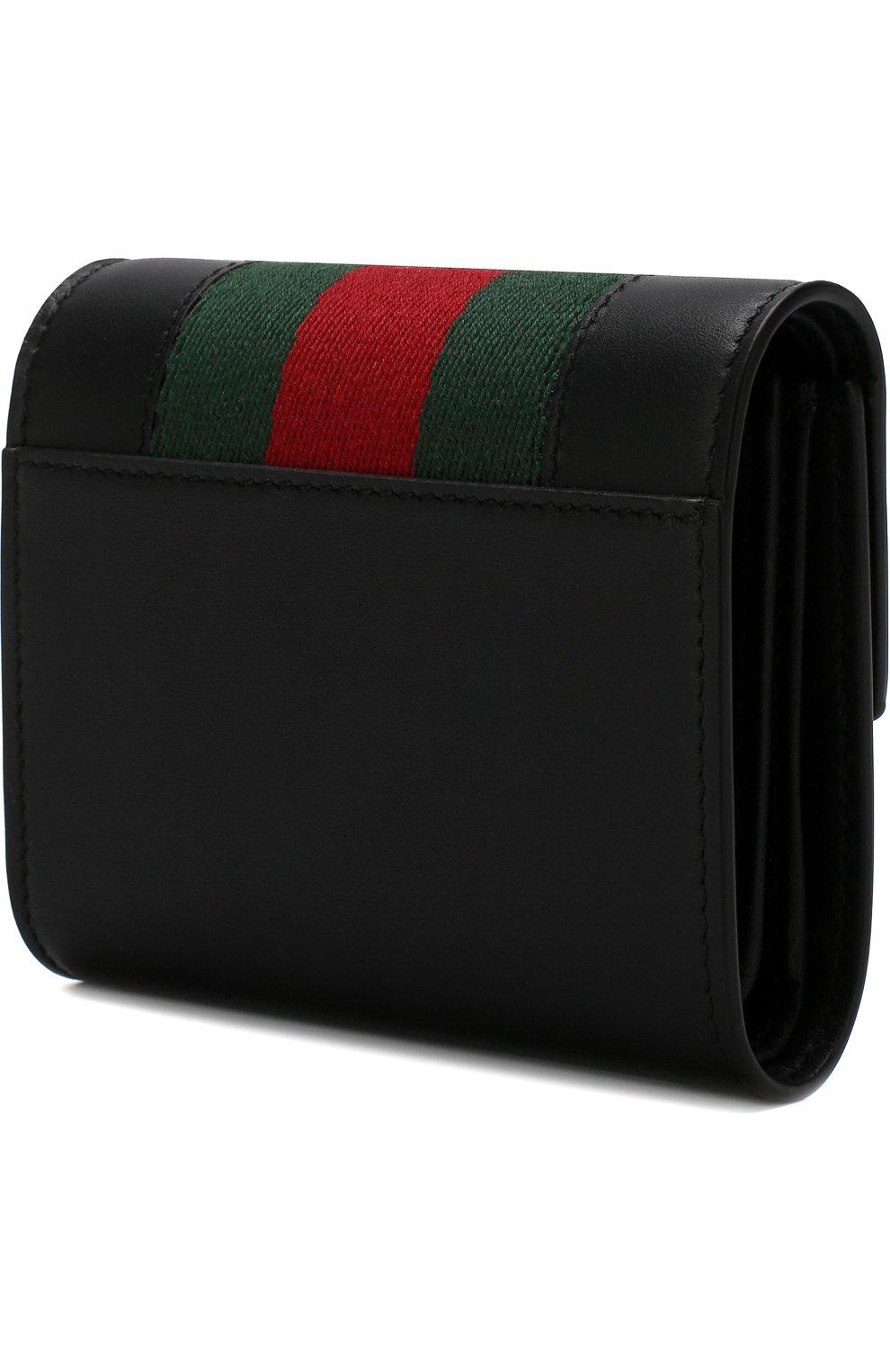 Кожаный кошелек Sylvie с клапаном Gucci черного цвета | Фото №2