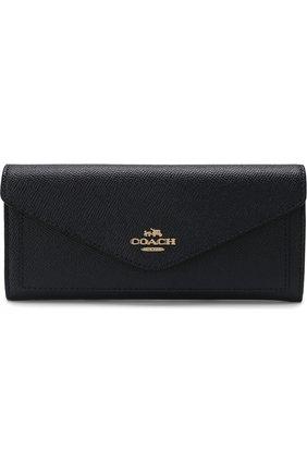 Кожаный кошелек с клапаном Coach темно-синего цвета | Фото №1
