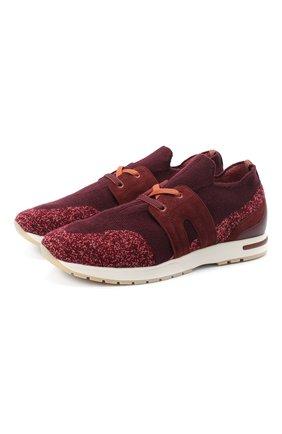 Женские комбинированные кроссовки 360 lp walk LORO PIANA бордового цвета, арт. FAI1590 | Фото 1