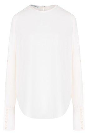 Однотонная шелковая блуза с круглым вырезом | Фото №1