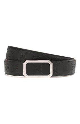 Мужской кожаный ремень GUCCI черного цвета, арт. 403941/CWC0N | Фото 1