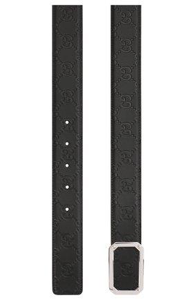 Мужской кожаный ремень GUCCI черного цвета, арт. 403941/CWC0N | Фото 2