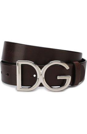 Мужской кожаный ремень DOLCE & GABBANA темно-коричневого цвета, арт. BC4245/AI894 | Фото 1