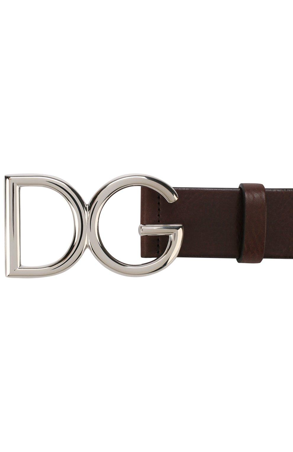Мужской кожаный ремень DOLCE & GABBANA темно-коричневого цвета, арт. BC4245/AI894 | Фото 3