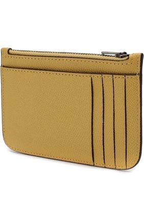 Кожаный футляр для кредитных карт Coach желтого цвета | Фото №1