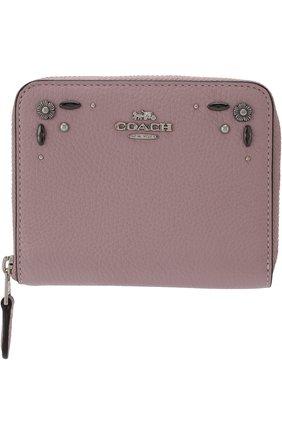 Кожаный кошелек на молнии с декоративной отделкой Coach лилового цвета | Фото №1