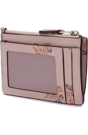 Футляр для кредитных карт с отделением на молнии Coach розового цвета | Фото №1