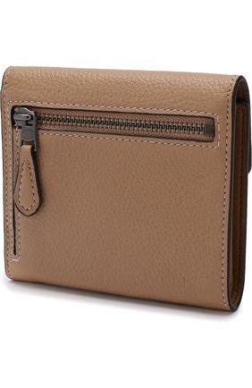 Кожаный кошелек с декоративной отделкой Coach бежевого цвета | Фото №1