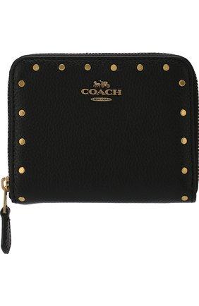 Кожаный кошелек на молнии Coach черного цвета | Фото №1