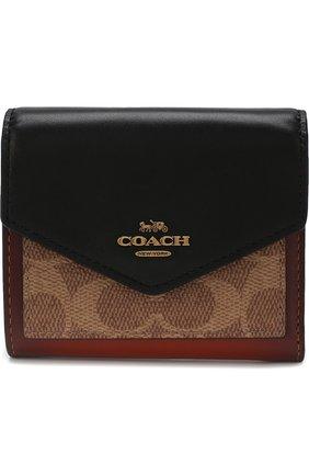 Кошелек с принтом Coach коричневого цвета | Фото №1