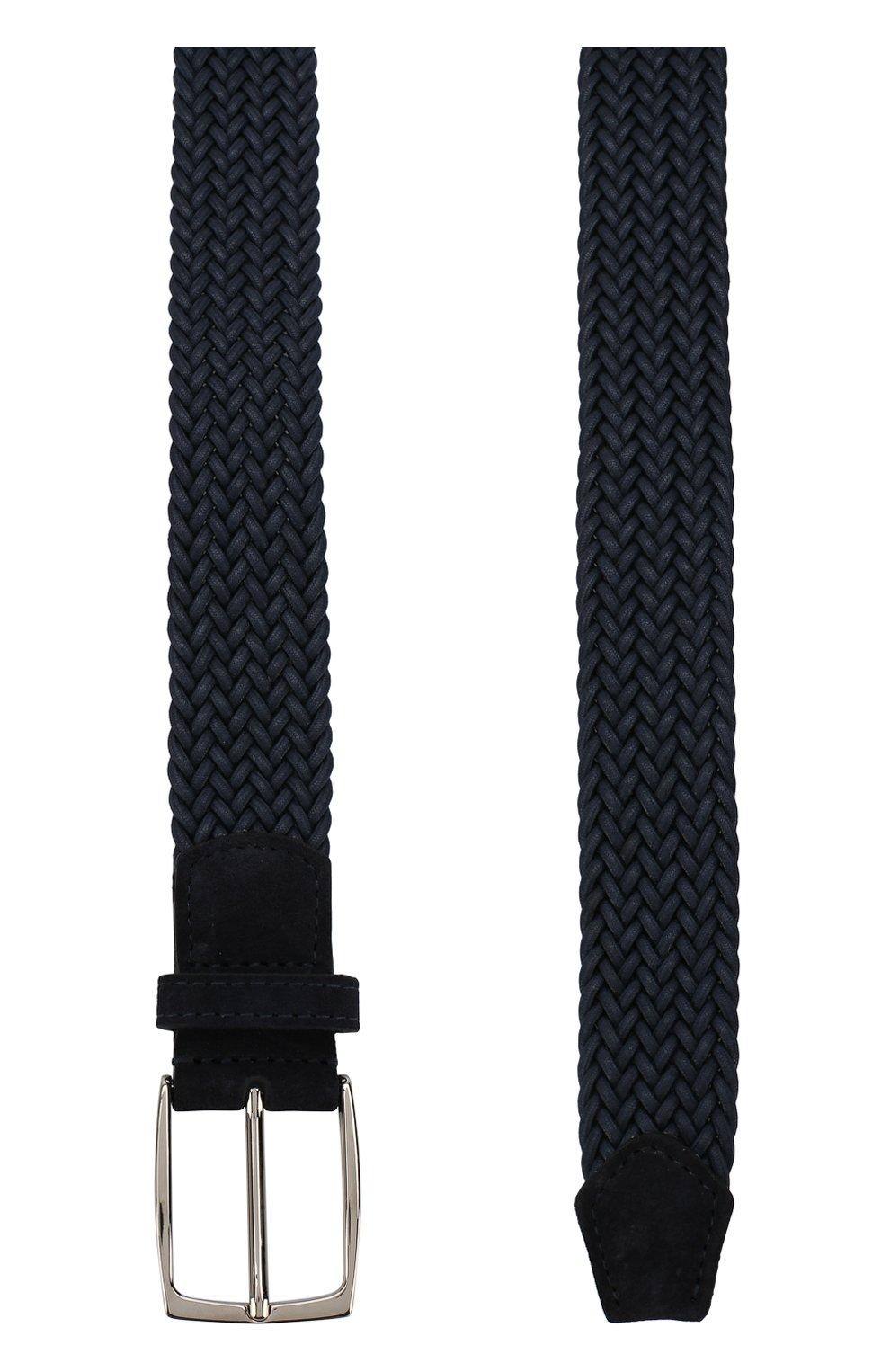Плетеный текстильный ремень с замшевой отделкой и металлической пряжкой Isaia темно-синий | Фото №2