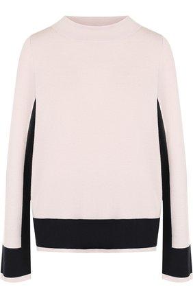 Шерстяной пуловер с контрастной отделкой Windsor светло-розовый | Фото №1