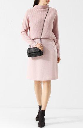 Однотонная шерстяная мини-юбка с карманами Windsor светло-розовая | Фото №1