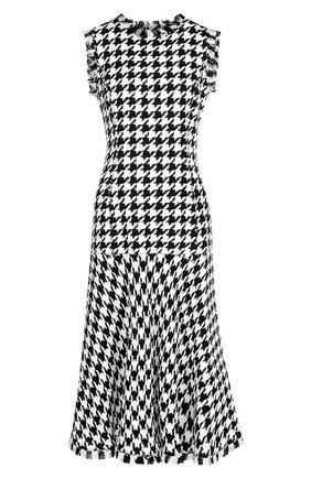 Приталенное платье-миди из смеси шерсти и вискозы с бахромой Oscar de la Renta белое | Фото №1