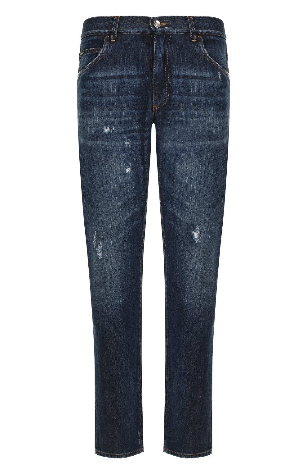 Мужские джинсы прямого кроя с потертостями DOLCE & GABBANA темно-синего цвета, арт. GY40CD/G8AB3 | Фото 1