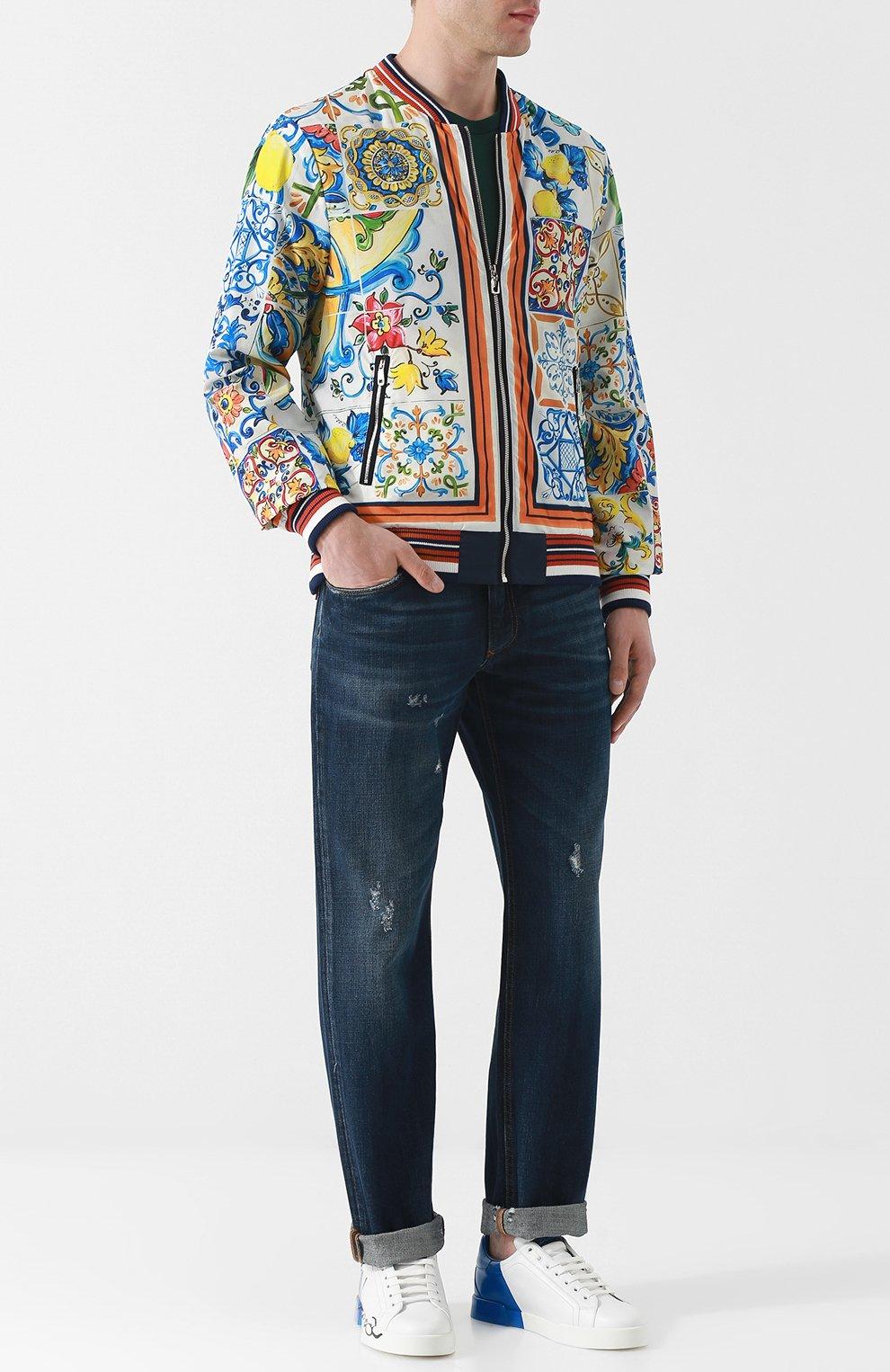 Мужские джинсы прямого кроя с потертостями DOLCE & GABBANA темно-синего цвета, арт. GY40CD/G8AB3 | Фото 2