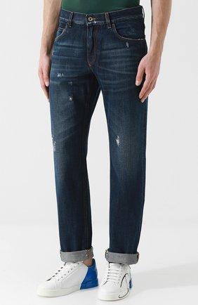 Мужские джинсы прямого кроя с потертостями DOLCE & GABBANA темно-синего цвета, арт. GY40CD/G8AB3 | Фото 3