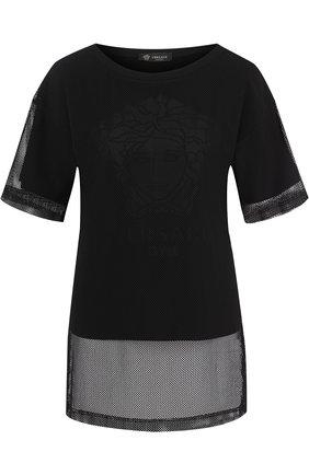 Однотонная футболка с круглым вырезом и перфорированием Versace черная | Фото №1