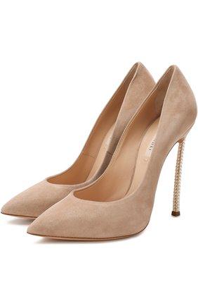 Замшевые туфли на декорированной шпильке Blade Casadei светло-бежевые   Фото №1