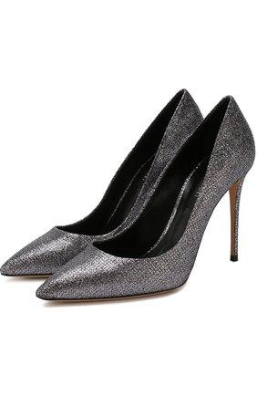 Туфли из металлизированного текстиля на шпильке   Фото №1
