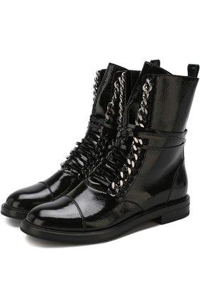 Кожаные байкеры на шнуровке Casadei черные   Фото №1