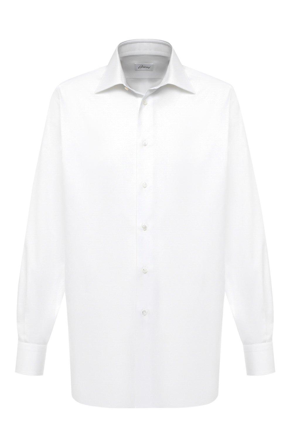 Мужская хлопковая сорочка BRIONI белого цвета, арт. RCL42G/PZ023 | Фото 1