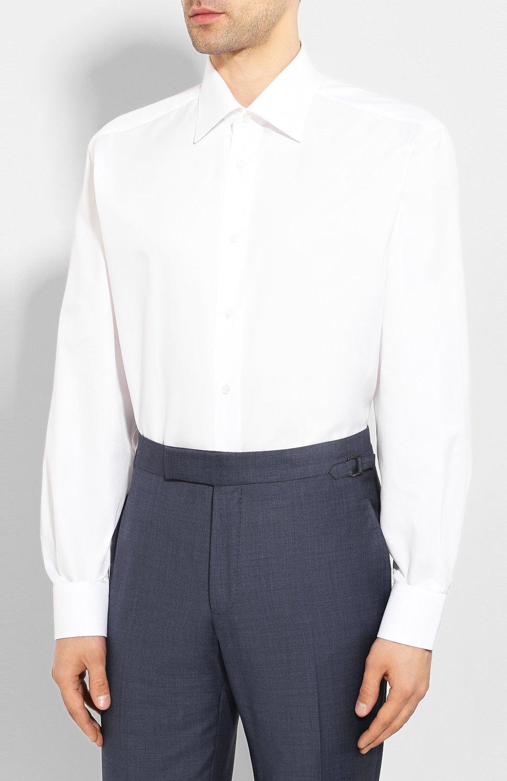 Мужская хлопковая сорочка BRIONI белого цвета, арт. RCL42G/PZ023 | Фото 3