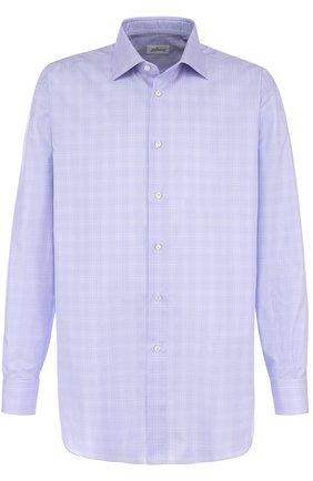 Мужская хлопковая сорочка с воротником кент BRIONI сиреневого цвета, арт. RCLU0W/07069 | Фото 1