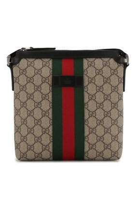 Мужская текстильная сумка-планшет gg supreme GUCCI бежевого цвета, арт. 471454/KHNGN   Фото 1