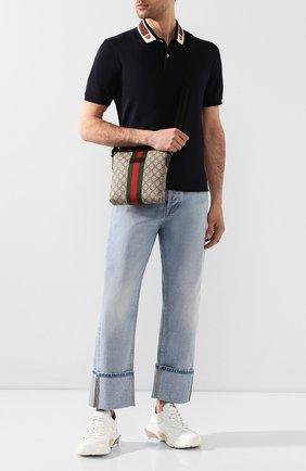 Мужская текстильная сумка-планшет gg supreme GUCCI бежевого цвета, арт. 471454/KHNGN   Фото 2