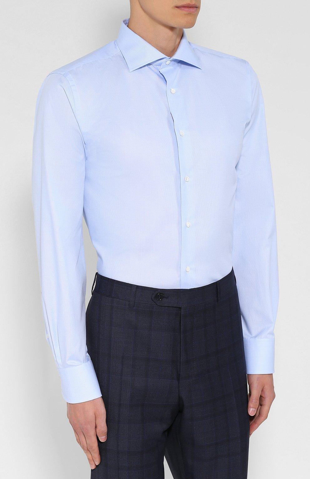 Мужская хлопковая сорочка CANALI голубого цвета, арт. 758/GA00327/S | Фото 3